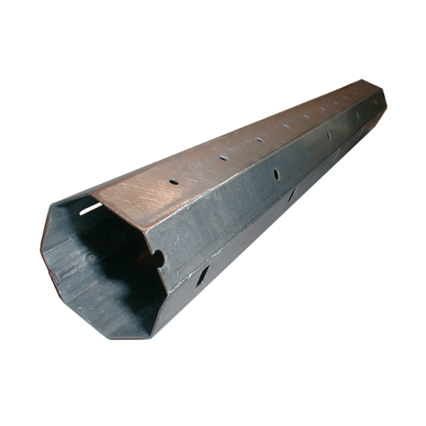 Mini-Stahlwelle achtkant, 40 ø x 0,8 mm, 600 cm, feuerverzinkt, Falz innen