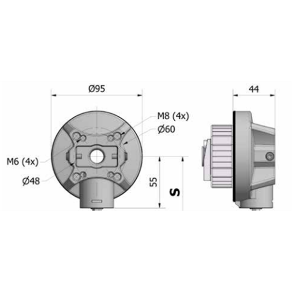 Markisen-Kegelradgetriebe 4,6:1 RAL 7016