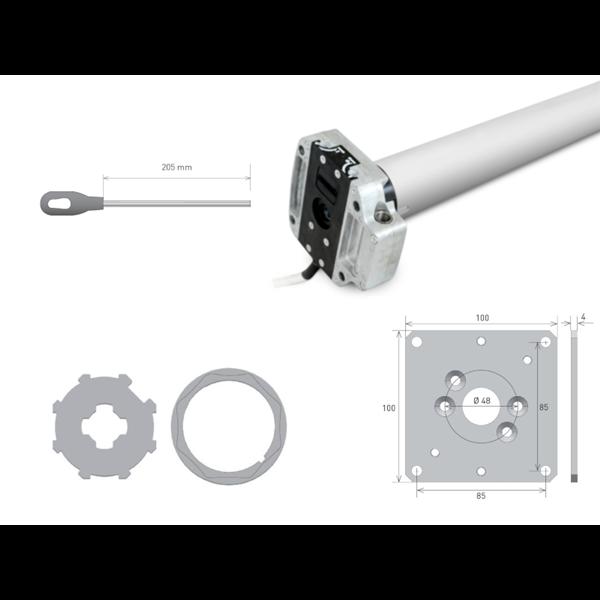 Rohrmotor Axial M 40 f. 60er 8kant Welle 40 Nm/80kg NHK + Lg.platte + Öse