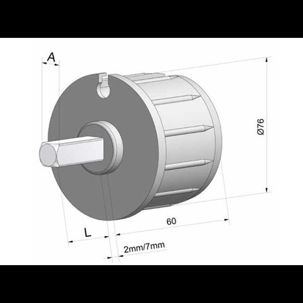 Walzenkappe für Markisenwelle D 78 mm mit Außenstift 4-kant 13x40, Kunststoff