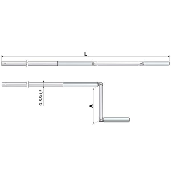 Handkurbel Alurohr L1400mm ø15 mm, silber eloxiert