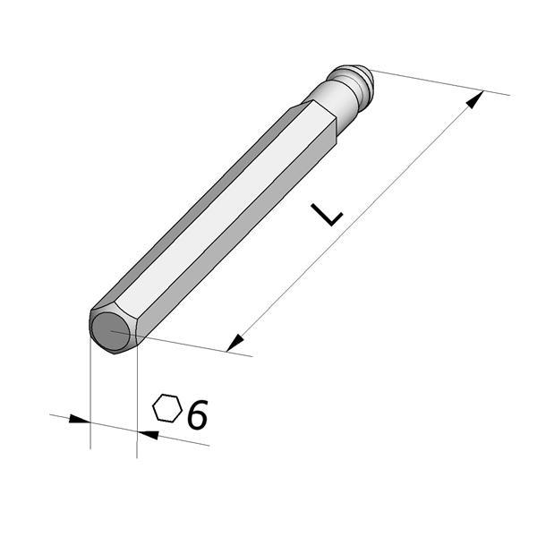 Antriebsstab 6kant/6mm/L300mm vernick.