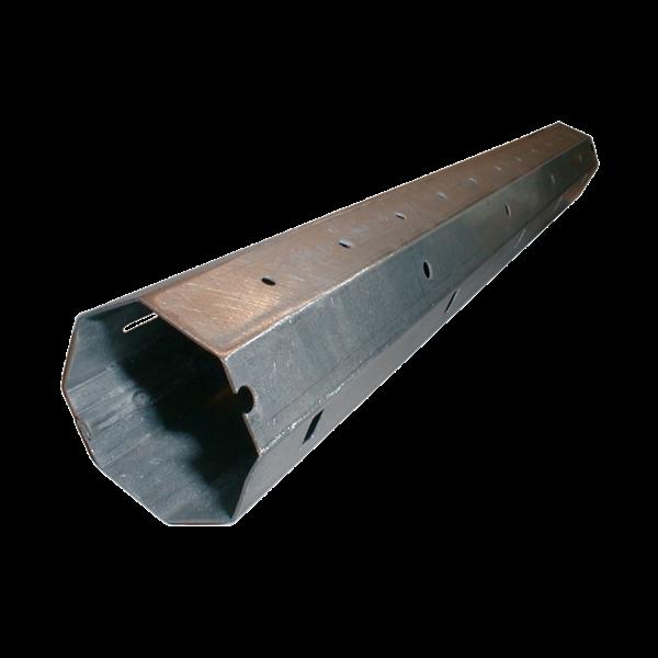 Mini-Stahlwelle achtkant, 40 ø x 0,6 mm, 600 cm, feuerverzinkt, Falz innen