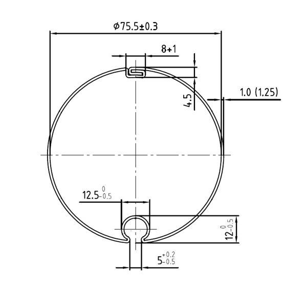 Markisenwelle mit Rundnut 78 ø x 1,25 mm, 6 m, feuerverzinkt