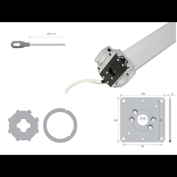 Rohrmotor Axial M 60 f. 70er 8kant Welle 60 Nm NHK + Lg.platte + Öse