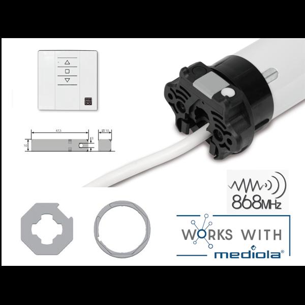 Rohrmotor AxelRI SENSE 10Nm FUNK SW60er elektr.End.+ Wandsender 2254.0 QCXT01W