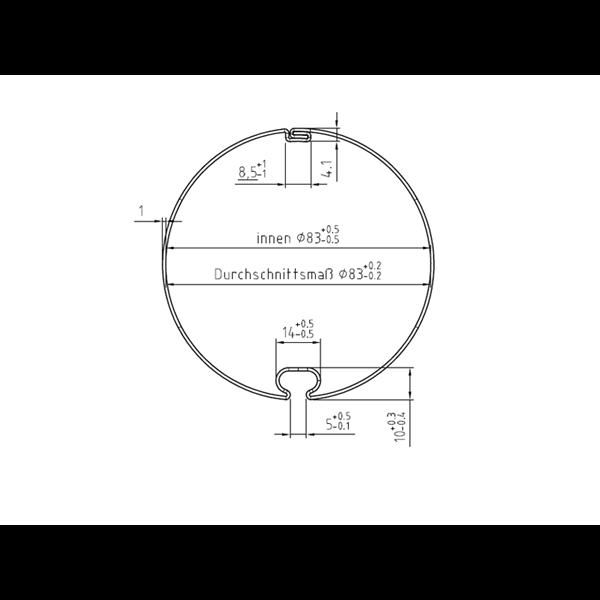 Markisenwelle mit Rundnut 85 ø x 1,0 mm, 6 m, feuerverzinkt