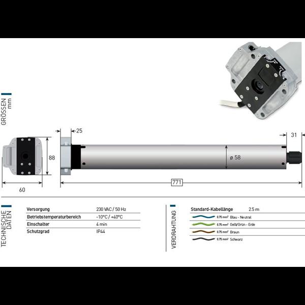 Rohrmotor Axial 120 Nm f. Nothandkurbel Serie 60
