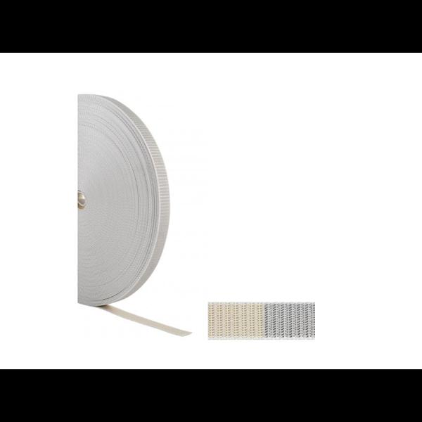 Aufzugsgurt 23 mm, gerollt 6 m, beidseitig gelocht, beige/grau