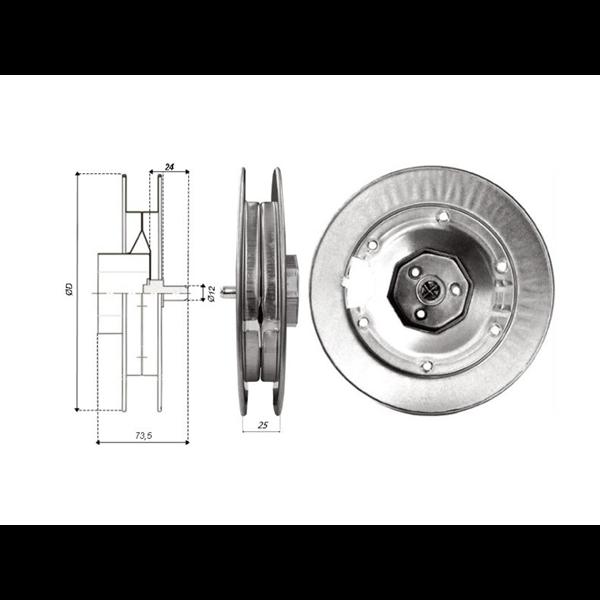 Gurtscheibe 180 Ø f.60er 8k-Welle mit Kappe, Stift und Hacken Metall