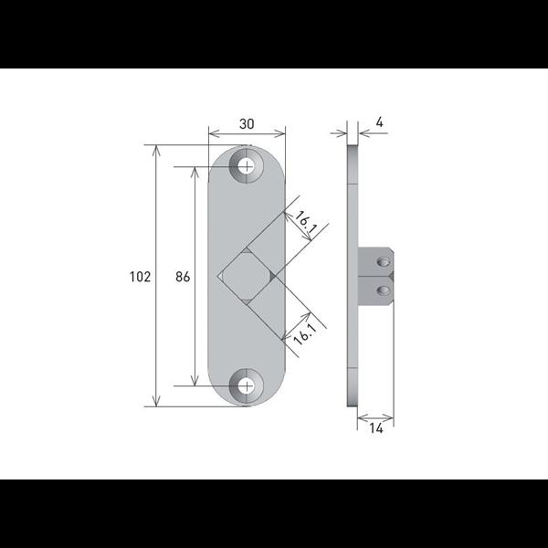Vierkantstift 16x16 für Rohrmotor Axial M 45°