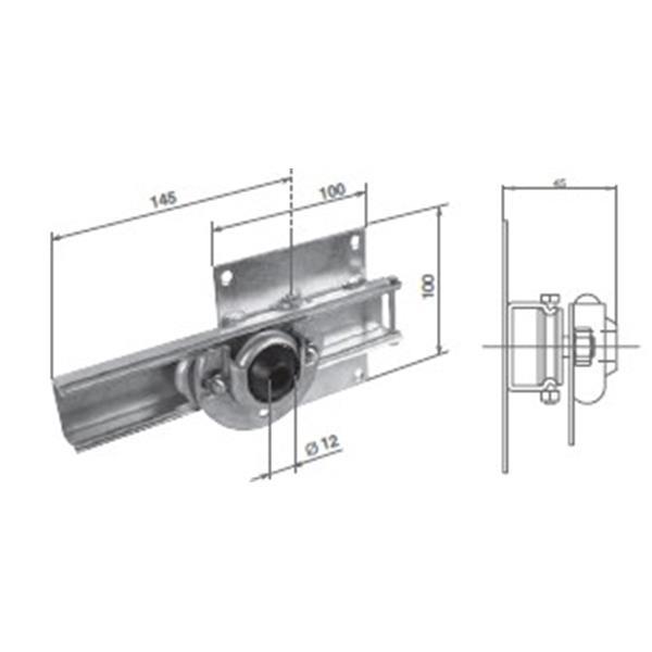 Rollkonsole 100 x 100 mm für 12 mm Stift (Motorgegenseite)
