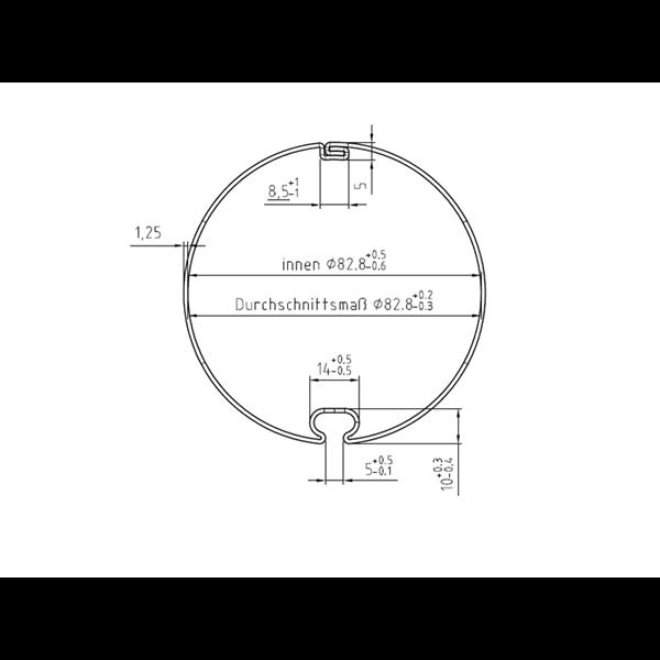 Markisenwelle mit Rundnut 85 ø x 1,2 mm, 6 m, feuerverzinkt