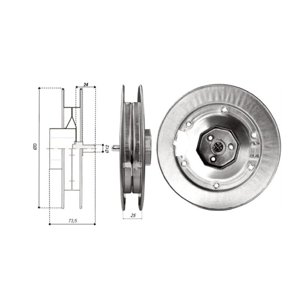 Gurtscheibe 160 Ø f.60er 8k-Welle mit Kappe, Stift und Hacken Metall