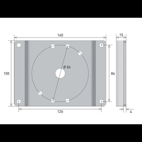 Antriebslagerplatte 15mm Ausladung f. Axial M