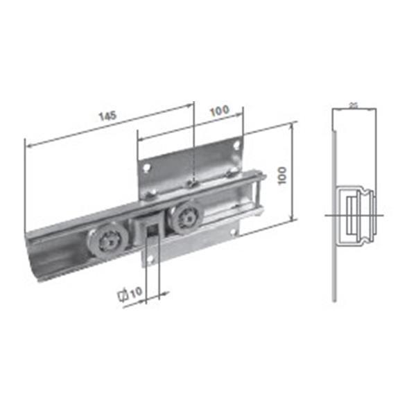 Rollkonsole 100 x 100 mm für Vierkanstift 10x10 mm (Motorseite)