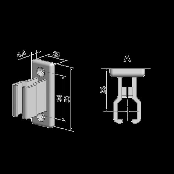 Kurbelhalter grau 20 mm x 50 mm LA 34 mm, Kunststoff