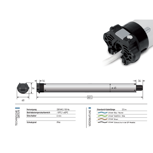 Rohrmotor Sileo eletronic 15 Nm 30 U/min