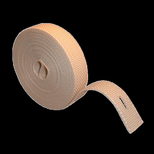Aufzugsgurt 23 mm, gerollt 5 m, beidseitig gelocht, beige