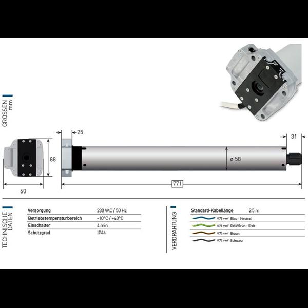 Rohrmotor Axial 60 Nm f. Nothandkurbel Serie 60