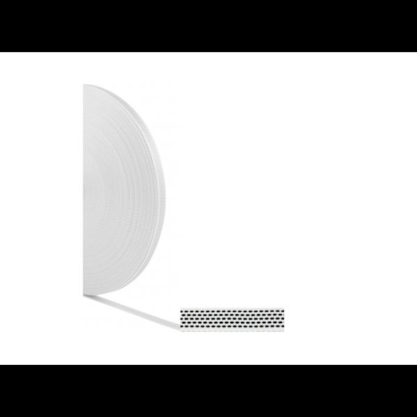 Mini-Gurtband 14-15 mm, gerollt 50 m, weiß-schwarz